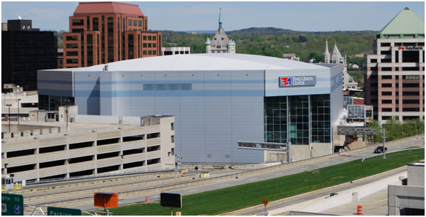 The Times-Union Center & Albany Capital Center are connected by a pedestrian walking bridge